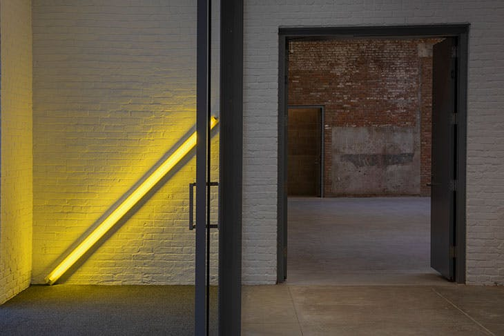 A work by Dan Flavin by the entrance to the new Dia Chelsea.