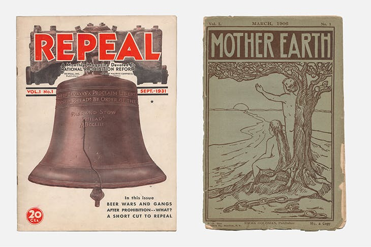 (Left) 'Repeal: A Monthly Magazine Devoted to National Prohibition Reform', volume 1, number 1, September 1931; (right): 'Mother Earth', volume 1, number 1, March 1906. An anarchist literary and political monthly edited by Emma Goldman.