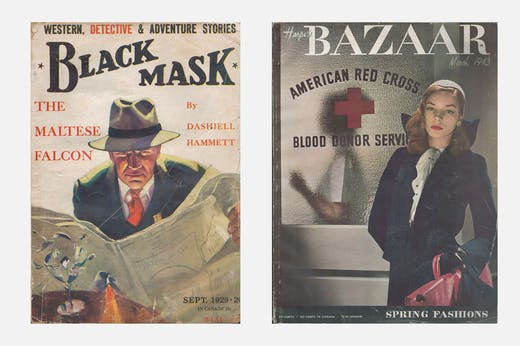 Left: 'Black Mask', vol. 12, no. 1, September 1929, contains the first part (of five) of 'The Maltese Falcon' by Dashiell Hammett; right: 'Harper's Bazaar', vol. 77, no. 3, March 1943, featuring Lauren Bacall on the cover.