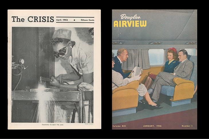 (Left): 'The Crisis: A Record of the Darker Races', volume 49, number 4, April 1942; (right): 'Douglas Airview', volume 13, number 1, January 1946. The cover contains the first published image of Norma Jean Dougherty, later known as Marilyn Monroe.