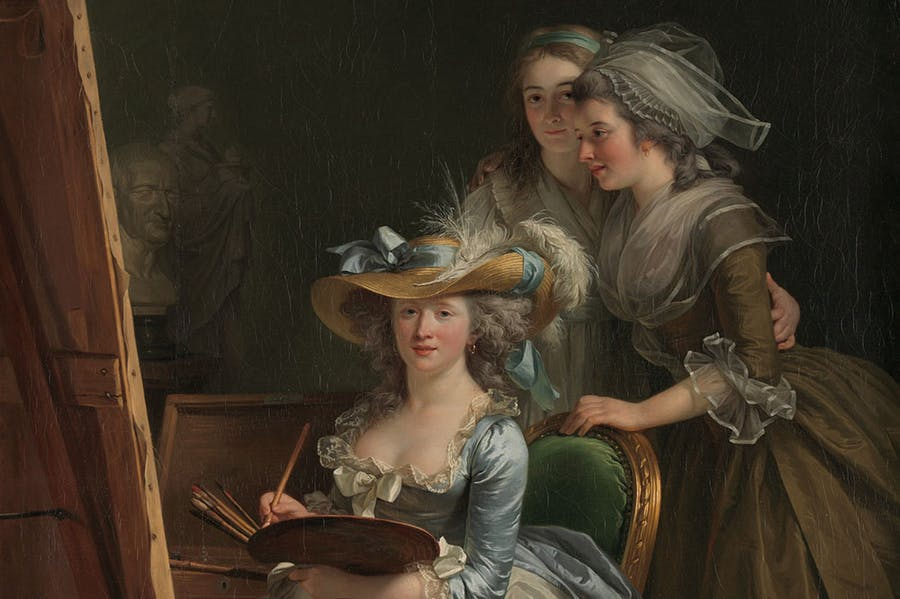 Self-portrait with Two Pupils (detail; 1785), Adélaïde Labille-Guiard. Adélaïde Labille-Guiard
