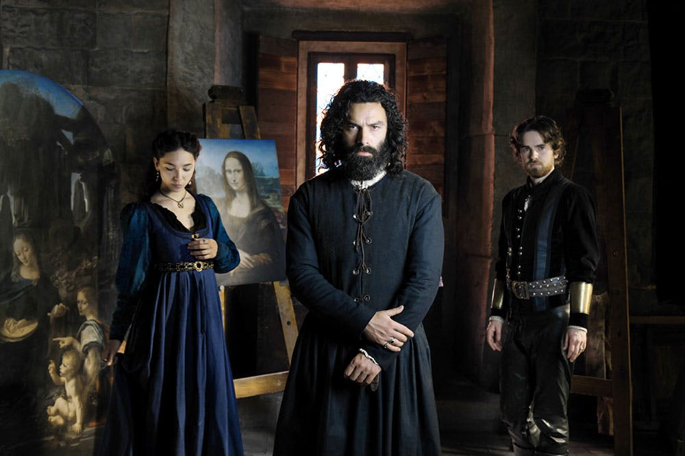 Leonardo, leading man: Adrian Turner as Leonardo da Vinci (centre), with Matilda De Angelis as Caterina da Cremona (left) and Freddie Highmore as Stefano Giraldi (right)