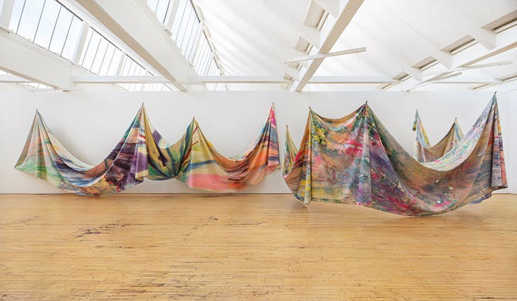 Double Merge (1968), Sam Gilliam, installation view at Dia Beacon, New York, in 2019.