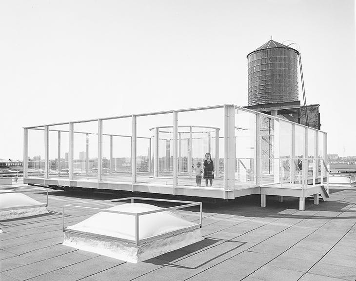 Rooftop Urban Park Project (1981–91), Dan Graham, installed on the roof of the Dia Center for the Arts at 548 West 22nd Street in Chelsea, New York