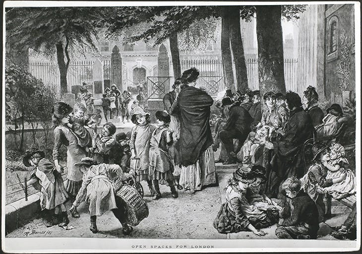 A scene in the churchyard of St John's Church on Waterloo Road, by R. Barnes, published in the Graphic in 1887. Photo: Hulton Archive/Getty Images