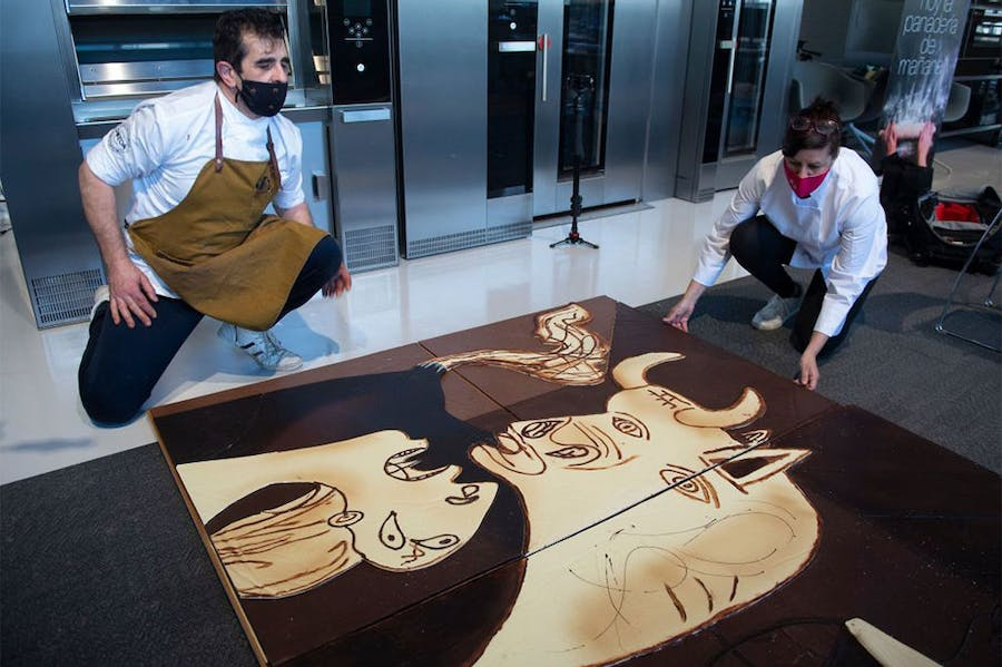 Cubes of cubism: chocolatiers at work on their rendering of Picasso's anti-war masterpiece in April 2021.