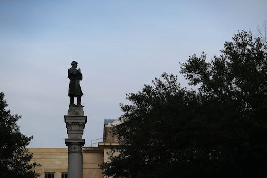 The statue of a Confederate soldier was removed from what was then Hemming Park, now James Weldon Johnson Park in Jacksonville, Florida, in June 2020.