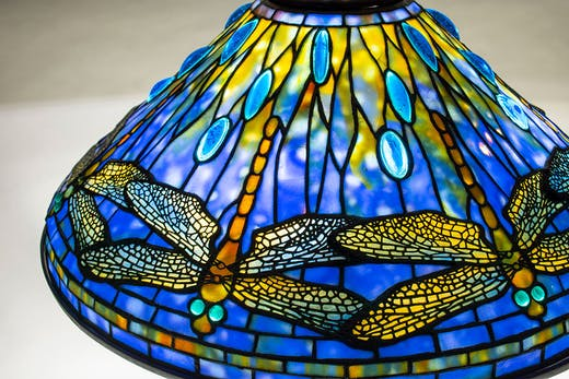 Detail of Dragonfly table lamp (c. 1906), Tiffany Studios. Lillian Nassau (price on application)