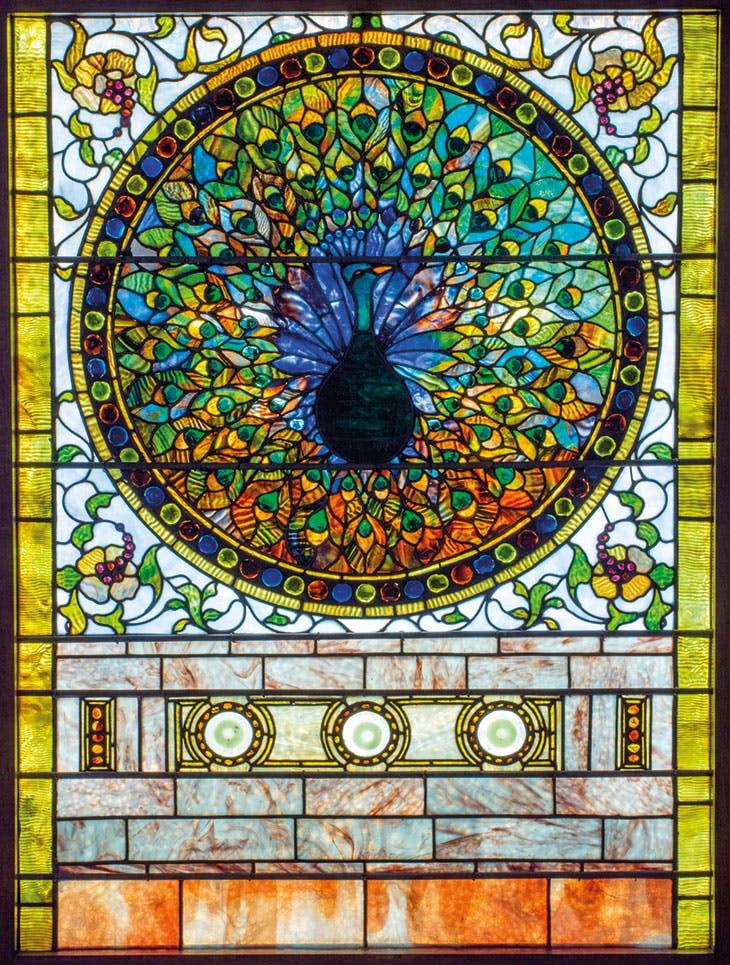 Peacock window (detail; c. 1890–95), Tiffany Glass and Decorating Company. Lillian Nassau ($750,000)