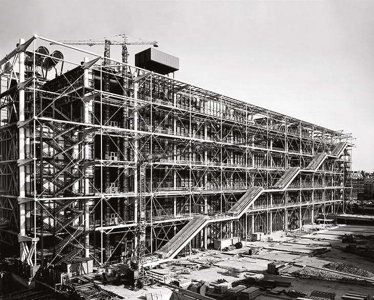 The Centre Pompidou, Paris, designed by Richard Rogers and Renzo Piano and photographed in August 1976 in the course of construction