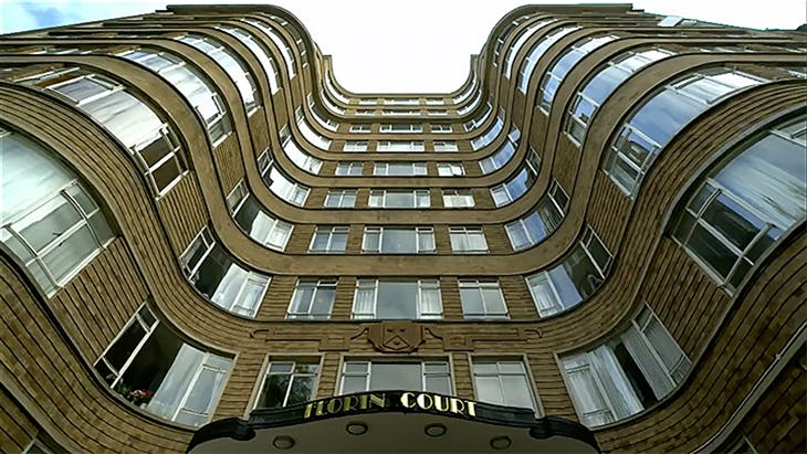 Florin Court in Clerkenwell, which stands in for Whitehaven Mansions, Poirot's home, in the ITV productions.