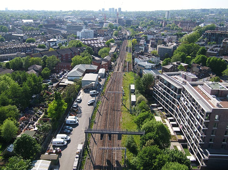 View of a section of the proposed Camden Highline, from Camley Street, London