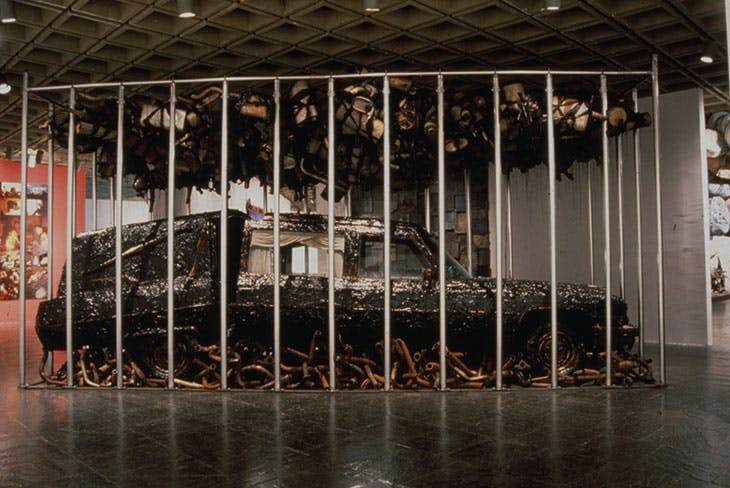 Peace Keeper (1995) by Nari Ward (installation view at the Whitney Museum of American Art, 1995).