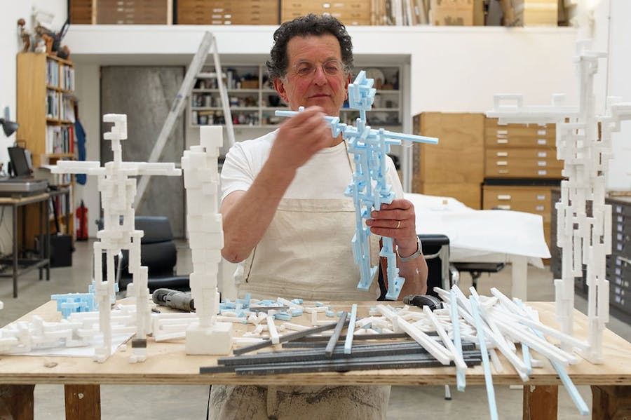 Antony Gormley photographed by Stephen White in his studio in London in March 2021.