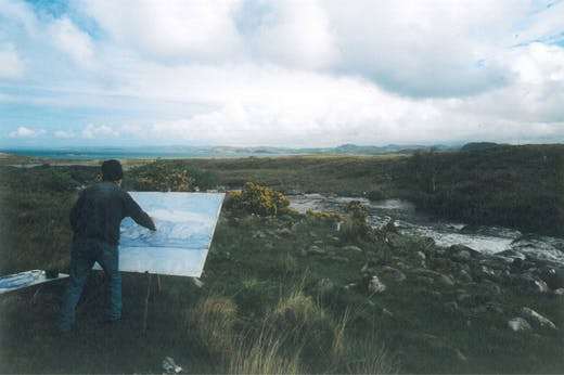 Work on the wild side – James Morrison painting in Scotland. Photo: Estate of James Morrison