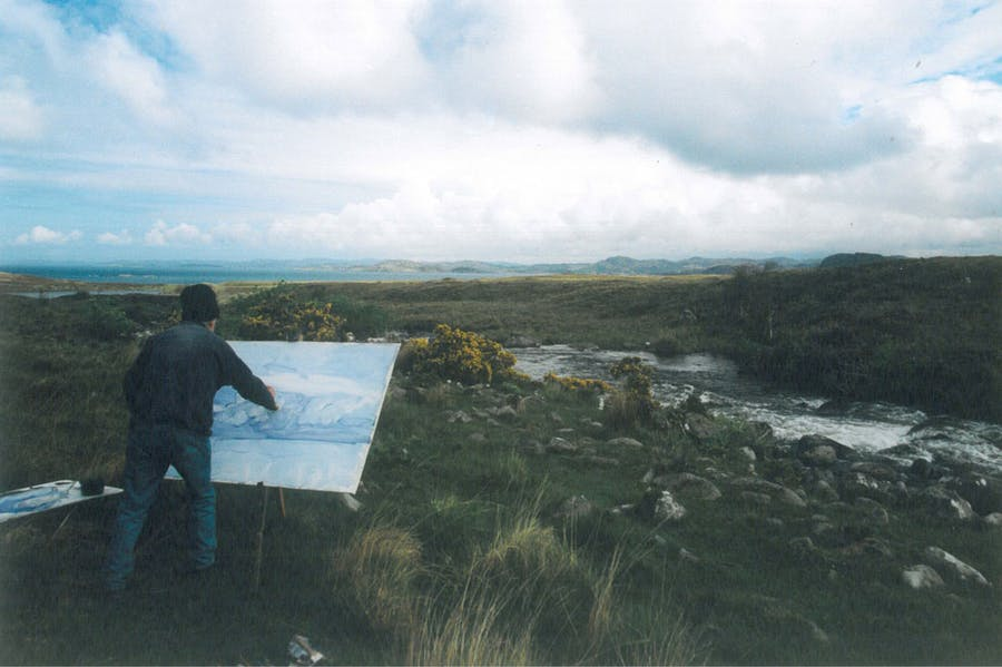 Work on the wild side –James Morrison painting in Scotland. Photo: Estate of James Morrison
