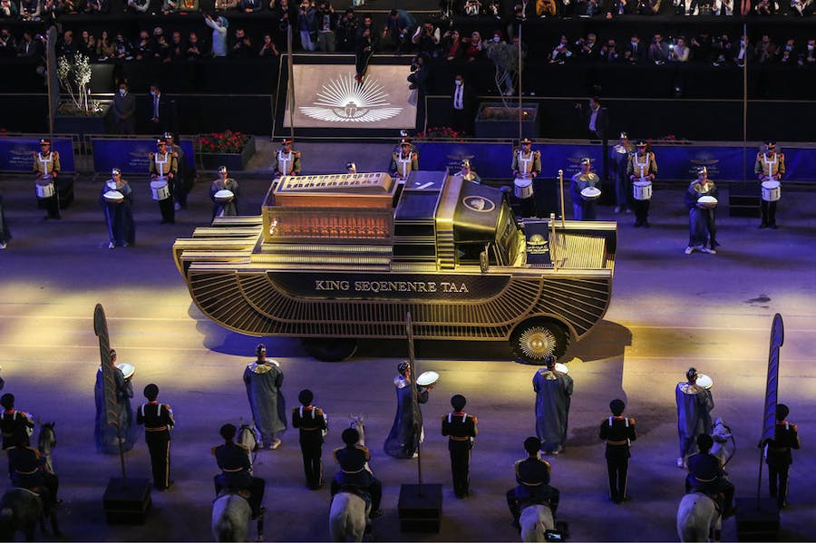 A specially designed vehicle transports the mummy of King Seqenenre Taa from the Egyptian Museum in Tahrir Square to the new Museum of Egyptian Civilization on 3 April 2021.