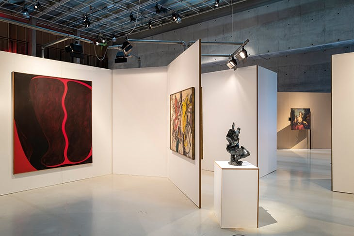 Installation view at Het Nieuwe Instituut, Rotterdam, showing the restaging of Alison and Peter Smithson's design for 'Painting & Sculpture of a Decade 54–64'