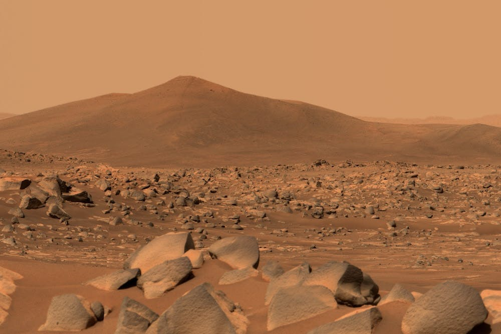 An image of the 'Santa Cruz' mountain on Mars, taken by Perseverance's Mastcam-Z in April 2021.