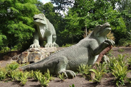 Two of the dinosaur sculptures in Crystal Palace Park.