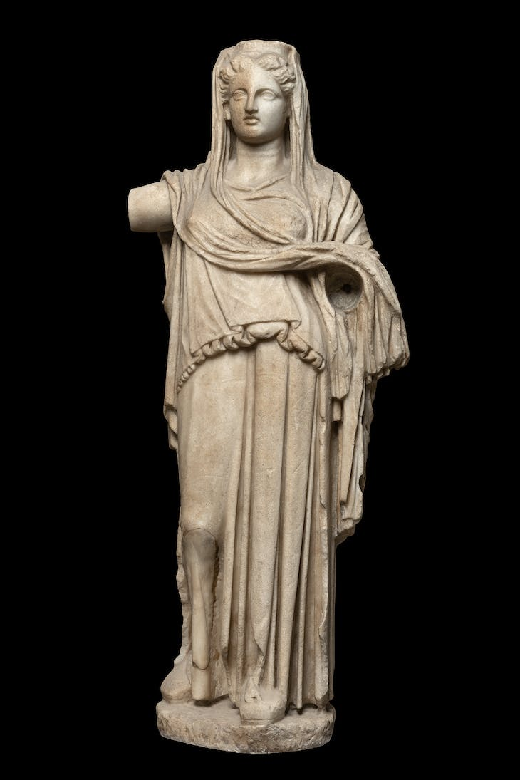 Statuette of a woman (possibly Demeter) with a polos (4th century BC), Greek.