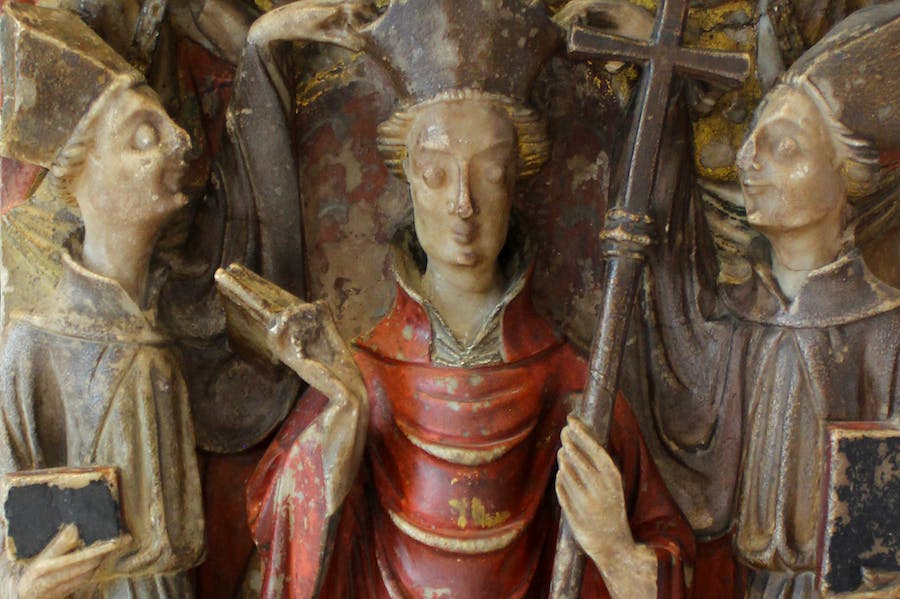 Alabaster panel from an altarpiece showing Becket's consecration as archbishop (detail; first half of 15th century), England.
