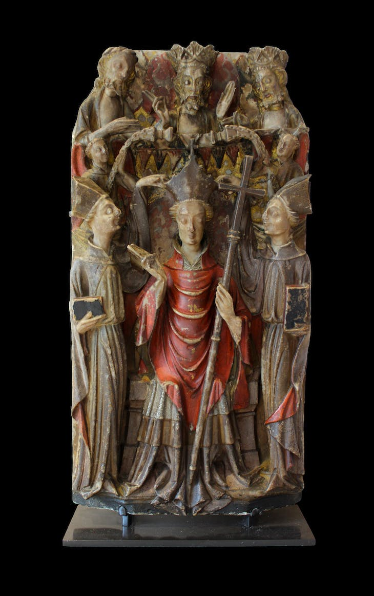Alabaster panel from an altarpiece showing Becket's consecration as archbishop (first half of 15th century), England.