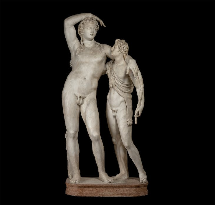 Statuary group with Dionysus and a satyr (2nd century), Roman.