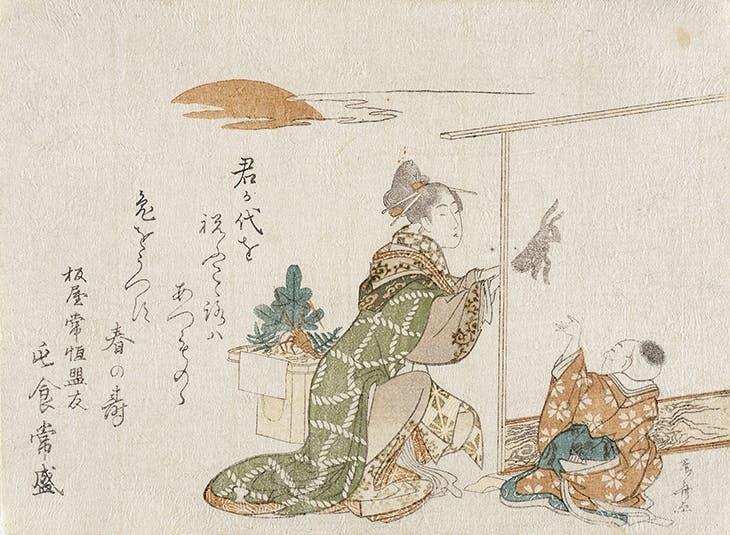Woman Making Rabbit Shadow for Small Boy (1807), Ryuryukyo Shinsai. Los Angeles County Museum of Art.