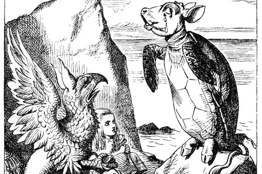 The Mock-Turtle (right) in 'Alice's Adventures in Wonderland' (1865), illustrated by John Tenniel.
