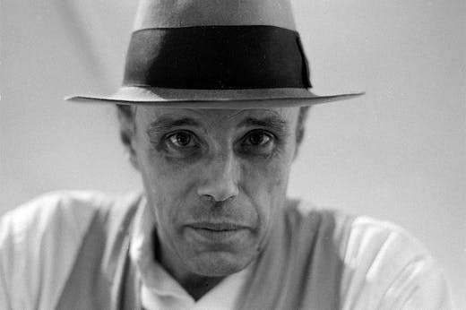 Joseph Beuys in 1975, photographed by Caroline Tisdall.