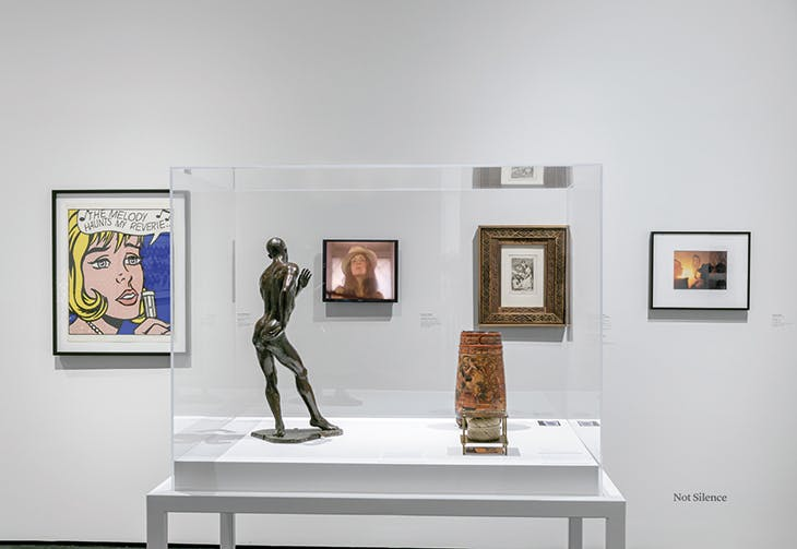 Installation view of a room in 'Not I: Throwing Voices, 1500 BCE–2020 CE' at Los Angeles County Museum of Art.