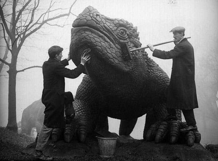 Dinosaur bathtime at Crystal Palace in the 1930s.