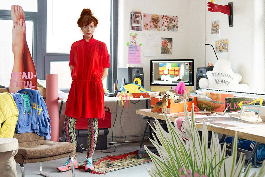 Heather Phillipson in her (physical) studio.