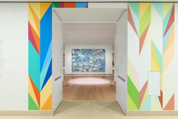 Installation view of 'New Grit: Art & Philly Now', showing work by Odili Donald Odita and Jane Irish.