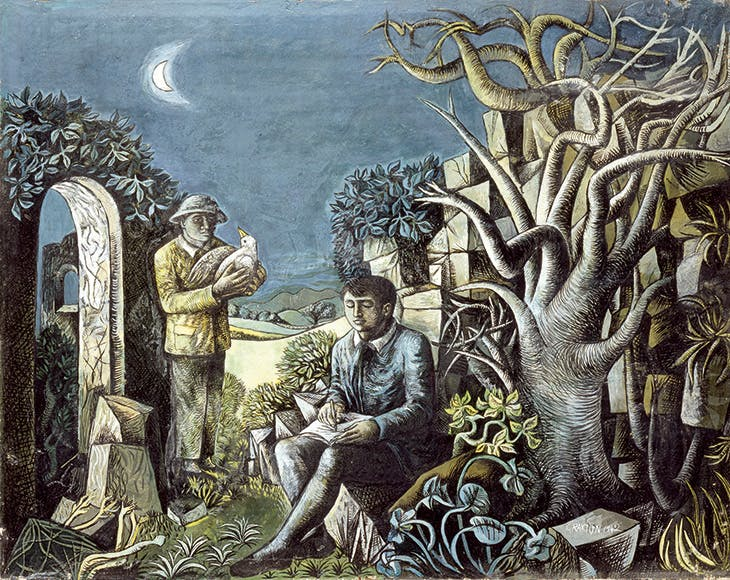 Landscape with Poet and Birdcatcher (1942), John Craxton. Private collection
