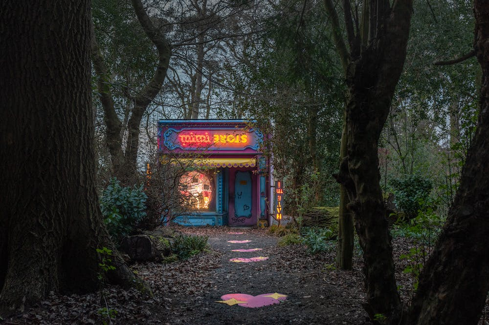 Installation view of 'Rachel Maclean: Mimi' at Jupiter Artland, 2021.