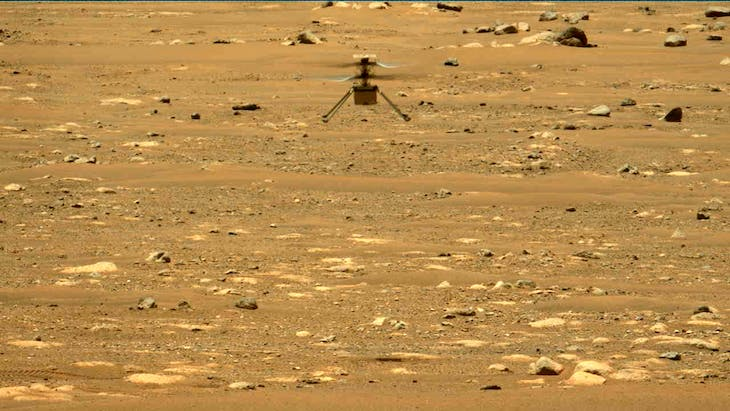 The second flight of the Ingenuity rover on 22 April 2021, as seen by the Perseverance rover.