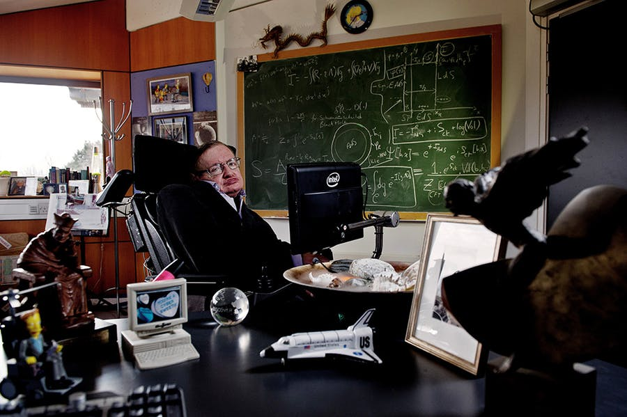 Stephen Hawking in his office at the Department of Advanced Mathematics and Theoretical Physics, University of Cambridge, commissioned by the Science Museum Group in 2011 to mark Hawking's 70th birthday.