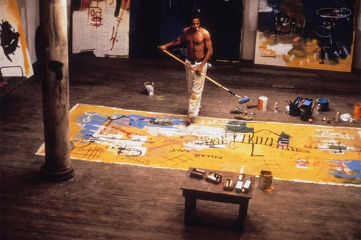 Basquiat in his studio.