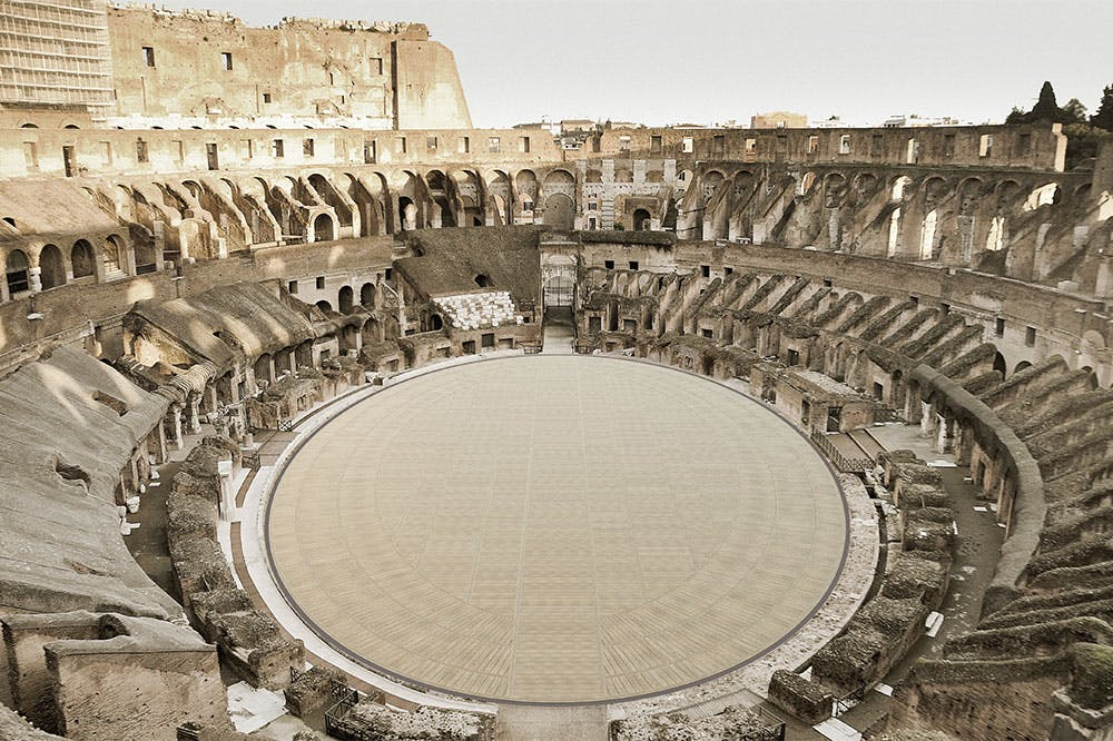 A rendering of the plans for the new Colosseum floor.