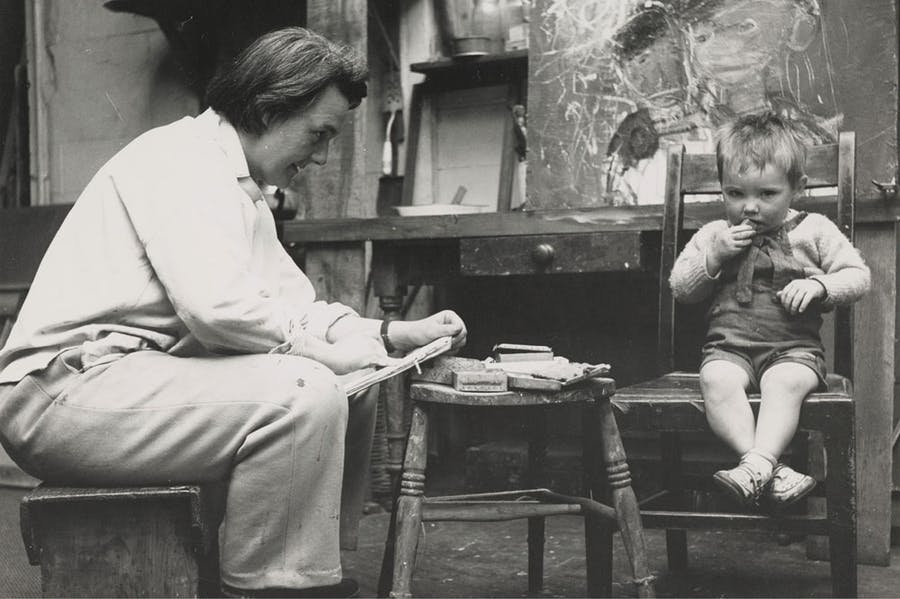 Joan Eardley sketching in her studio in Townhead, Glasgow (photo by Audrey Walker, c. 1949–51). Collection Scottish National Gallery of Modern Art