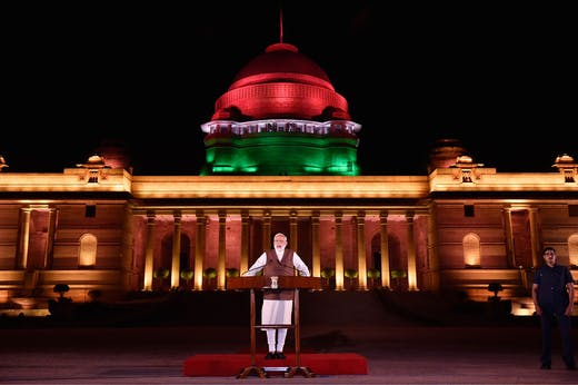 Narendra Modi speaking outside the Rashtrapati Bhawan in New Delhi, in May 2019.