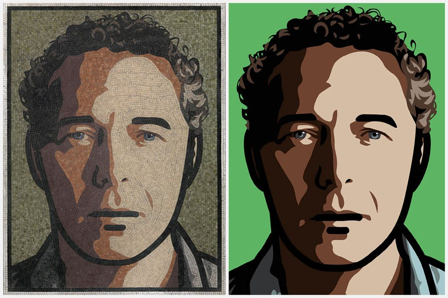 Two of Julian Opie's self-portraits, both titled 'Julian', from 2012 and 2013 (left to right).