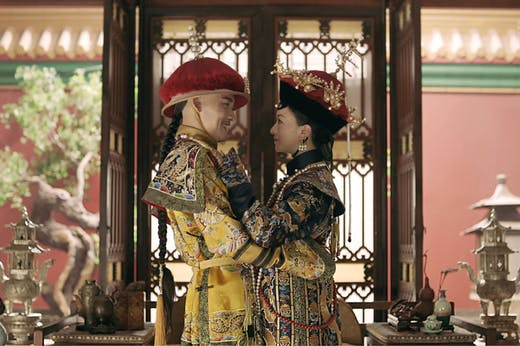 Still from Story of Yanxi Palace (2018), with the empress wearing a replica of a fengguan (phoenix crown) now in the Palace Museum, Beijing.