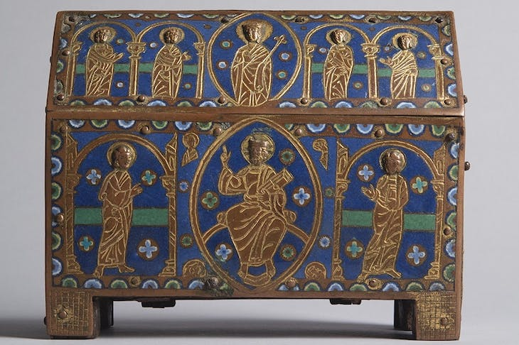 A reliquary chasse with Christ in Majesty (c. 1200), France.