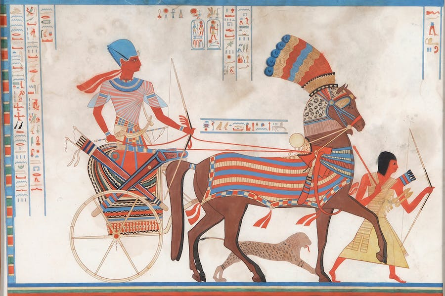 Lithograph depicting Rameses II on his chariot (19th century).