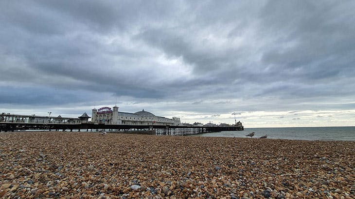 A smartphone snap of the beach in Brighton.