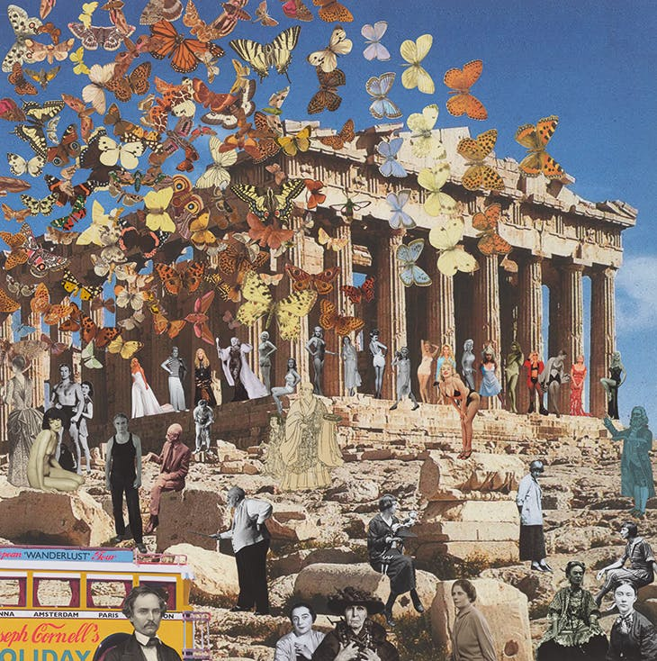 Joseph Cornell's Holiday – Greece, Athens. 'The Butterfly Man comes out of retirement to stage a Fly-past for 3 coach parties – Women Artists, Famous Blondes and Joseph Cornell's Wanderlust Tour' (2017), Peter Blake.