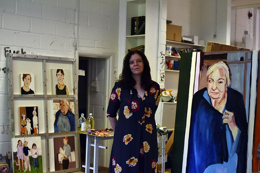 Chantal Joffe in the studio.